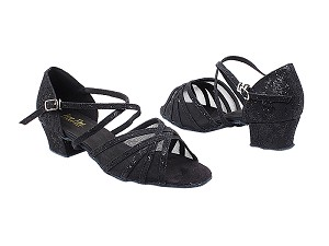 "1670C 165 Lace Black Scale_Black Mesh with 1.5"" Medium Heel in the photo"