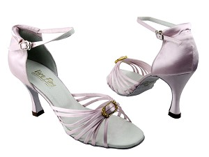 "1671B #233 Light Pink Satin & Stone with 3.5"" Heel in the photo"