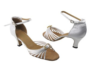 "1671B White Satin & Stone with 2.5"" Low Heel in the photo"