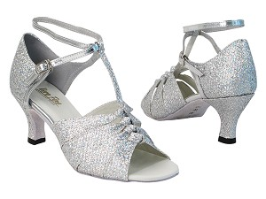 "1672 6 Silver Sparklenet_X-Strap Ankle with 2899_2.5"" Low Heel in the photo"