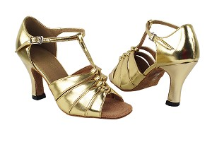 "1672 62 Gold PU with 3"" Heel in the photo"