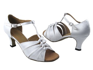 "1672 White Satin with 2.5"" Low Heel in the photo"