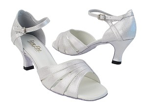"1680 259 Silver Satin with 2.5"" Low Heel in the photo"