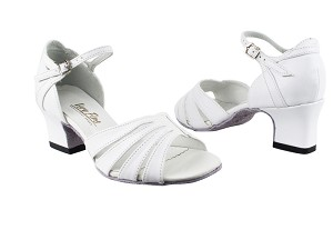 "1680 White Leather with 2"" Thick Cuban Heel in the photo"