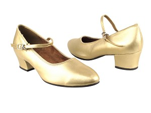 "1682 57 Light Gold Leather with 1.5"" Heel in the photo"