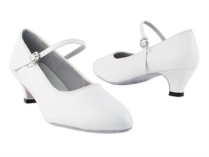 "1682 White Leather with 1.3"" Cuban Heel in the photo"