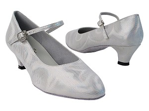 "1682_3008 86 Silver Laser Satin with 387_1.3"" Cuban Heel in the photo"