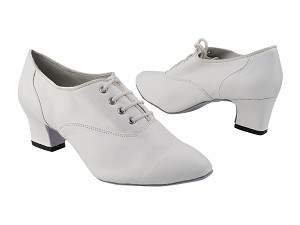 "1688 15 Creamy White Leather with 2"" Thick Cuban Heel (3149) in the photo"