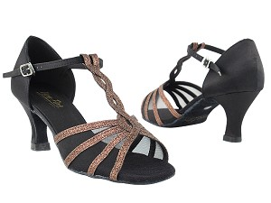 "1692 212 Copper Stardust_F_Black Satin_B_Black Mesh with 2.5"" Heel in the photo"