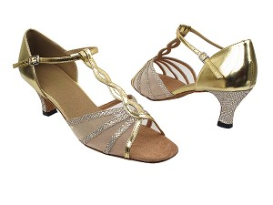 "1692 74 Gold Sparklenet_H_Gold Pu_Flesh Mesh with 2.5"" low heel in the photo"