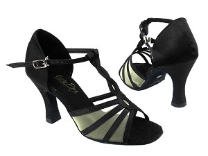 "1692 Black Satin_Flesh Mesh with 3"" heel in the photo"