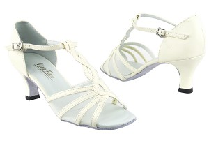 "1692 Creamy White Leather_Flesh Mesh with 2.5"" Heel in the photo"