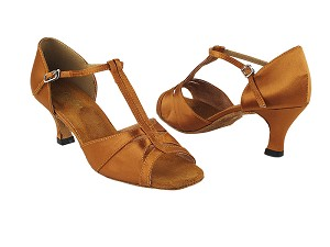 "1703 236 Dark Tan Satin with 2.5"" Heel in the photo"