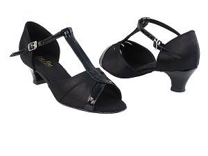 "1703 38 Black Satin_58 Black Patent Trim with 1.3"" Cuban Heel in the photo"