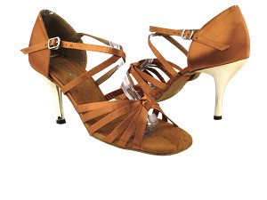 "1716 236 Dark Tan Satin with 3"" Slim Gold Plated Heel in the photo"