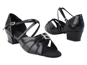 "1724 222 Snake Black with 1.5"" Medium Heel in the photo"