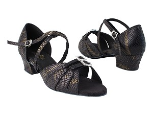 "1724 85 Black Snake_Stone with 1.5"" Medium Heel in the photo"
