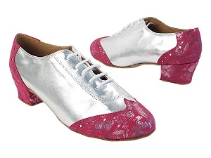 2008LEDSS 144 Pink Pattern Peach Velvet_F_B_055 Silver PU_M with Women's 1.5 inch Heel (Heel Code 2001) in the photo