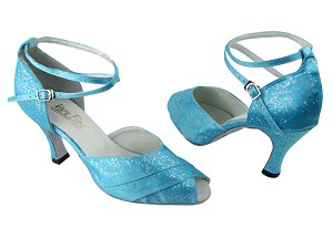 "2701 104 Blue Flower Satin with 3"" Heel in the photo"