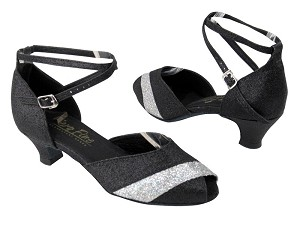 "2701 127 Black Stardust_Silver Sparklenet with 1.3"" Cuban heel in the photo"