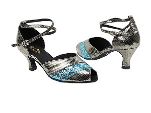 "2701 224 Snake Grey_188 Light Blue Sparkle Trim with 2.5"" Heel in the photo"