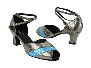 "2701 224 Snake Grey_280 Light Blue Scale with 2.2"" Thick Cuban Heel (318) in the photo"