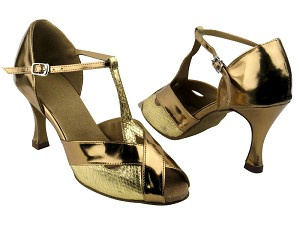 "2703 #226 Snake Gold & #116 Gold Patent PU Trim with 3.5"" Heel in the photo"