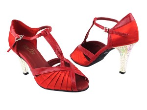 "2707 112 Red Satin_175 Red Snake Trim with 3"" Square Transparent Heel in the photo"