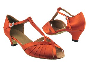 "2707 182 Orange Tan Satin with 1.3"" Cuban heel in the photo"