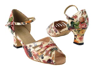 "2709 287 Tan Flower Patent PU with 2.2"" TC Heel in the photo"