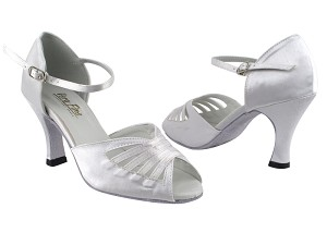 "2709 White Satin with 3"" Heel in the photo"