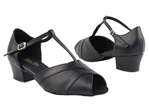 "2711 140 Black PU_Whole Shoes with 1.5"" Medium Heel in the photo"