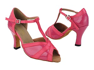 "2711 260 Pink Patent_246 Pink Satin Trim with 3"" Heel (6812) in the photo"