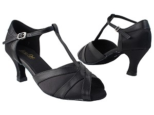 "2711 38 Black Satin_140 Black PU Trim with 2.5"" low heel in the photo"