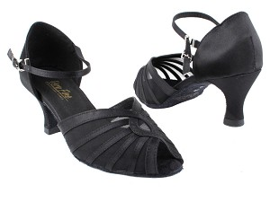 "2719 Black Satin_Black Mesh with 2.5"" Heel in the photo"