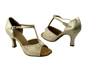 "5004 #173 Light Gold Scale & #163 Soft Gold Leather with 3"" Heel in the photo"