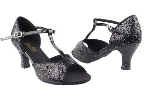 "5004 Black Sparkle_Whole Shoes with 2.5"" Heel in the photo"