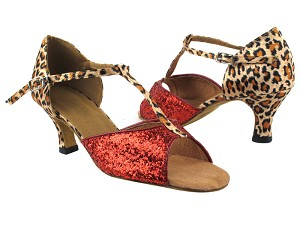 "5004 Red Sparkle_F_152 Leopard Satin_B_T with 2.5"" Heel in the photo"