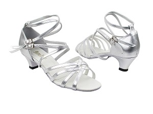 "5008 151 Soft Silver PU with 1.3"" Cuban Heel in the photo"