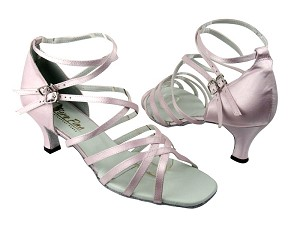 "5008 233 Light Pink Satin with 2.5"" Low heel in the photo"