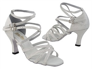 "5008 270 White Glitter Satin with 3"" Heel (6812) in the photo"