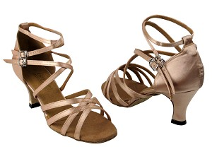 "5008 Light Brown Satin with 2.5"" Low Heel in the photo"