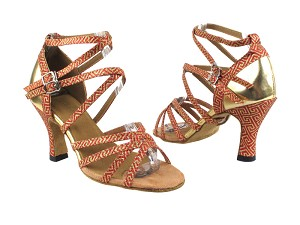 "5008Mirage 239 Red Gold Stardust_S_T_H_Gold Leather_B with 3"" Heel in the photo"