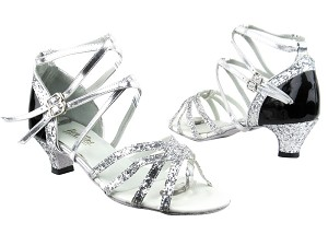 "5008Mirage Silver Sparkle_F_T_H_Black Patent_B_Silver Leather BackStraps with 1.3"" Heel in the photo"