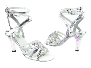 "5009 7 Silver Sparkle with 3"" Square Transparent Heel in the photo"