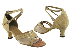 "5017 106 Glitter Gold Satin_Flesh Mesh with 2.5"" Heel in the photo"