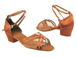 "5017 236 Dark Tan Satin_201 Tan Mesh with 1.5"" Medium Heel in the photo"