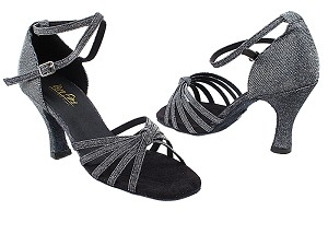 "6005 105 Glitter Black Satin with 3"" Heel in the photo"