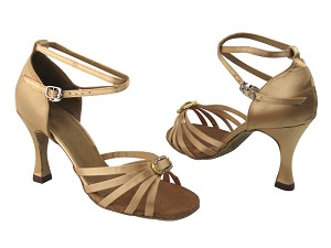 "6005 135 Light Brown Satin & Stone 3.5"" Heel in the photo"