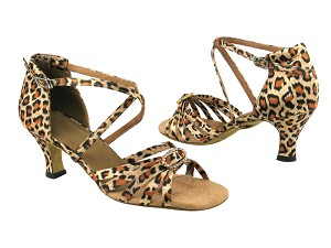 "6005 152 Leopard Satin_1636 BackStrap with 2.5"" low heel in the photo"
